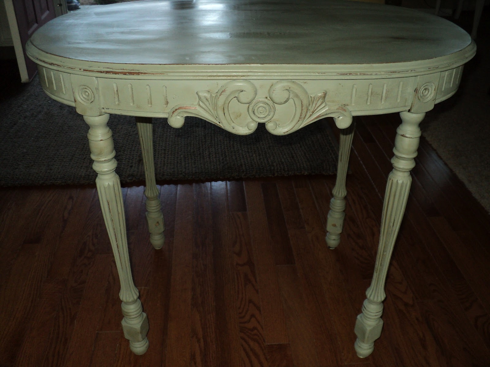 Amazing photo of This table has beautiful detailing! Solid wood painted with Annie  with #40738B color and 1600x1200 pixels