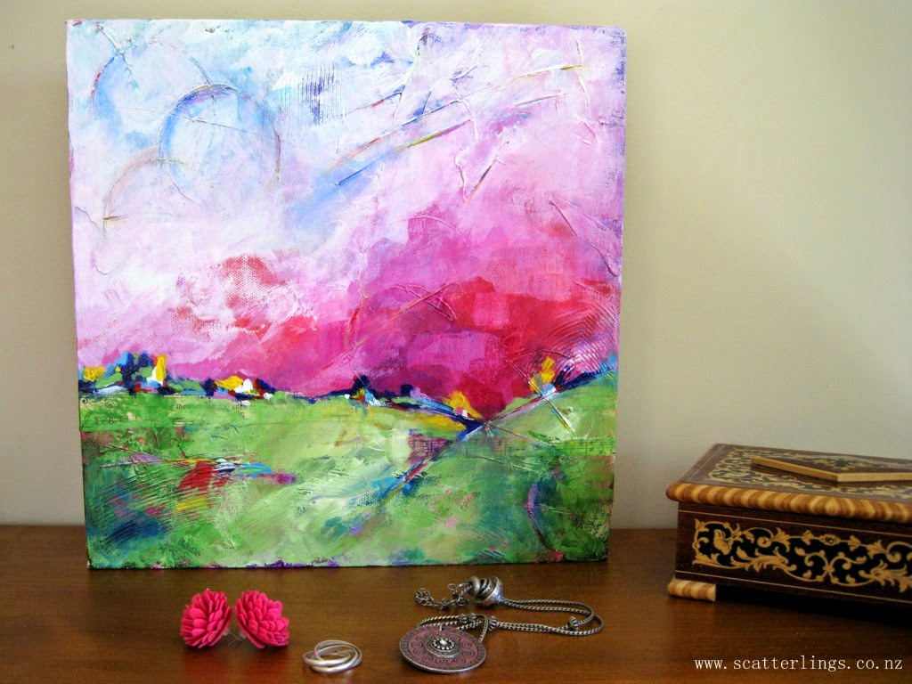 Mixed media abstract landscape on canvas by Renee Walden