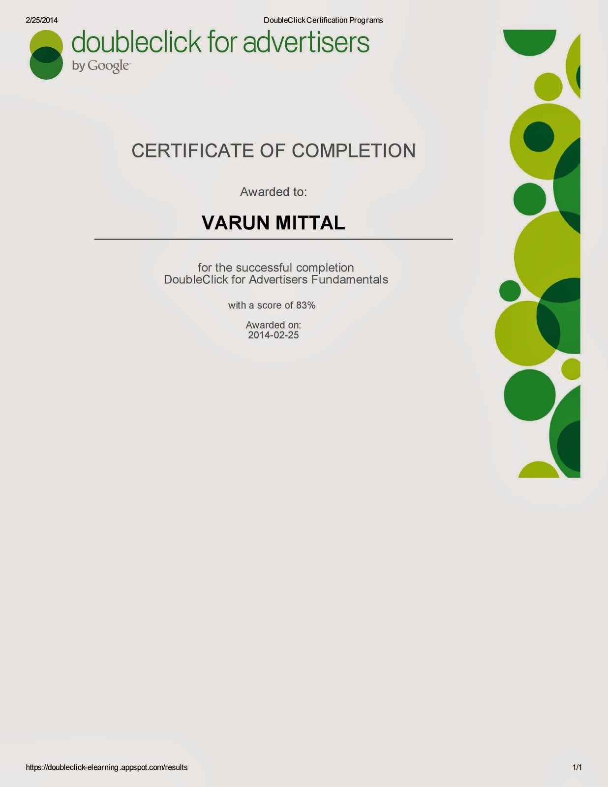 My certification varun mittal doubleclick for advertisers certification xflitez Gallery