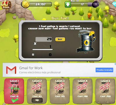 Oil warehouse levels and oil refill at free Bitcoin faucet game CannonSatoshi