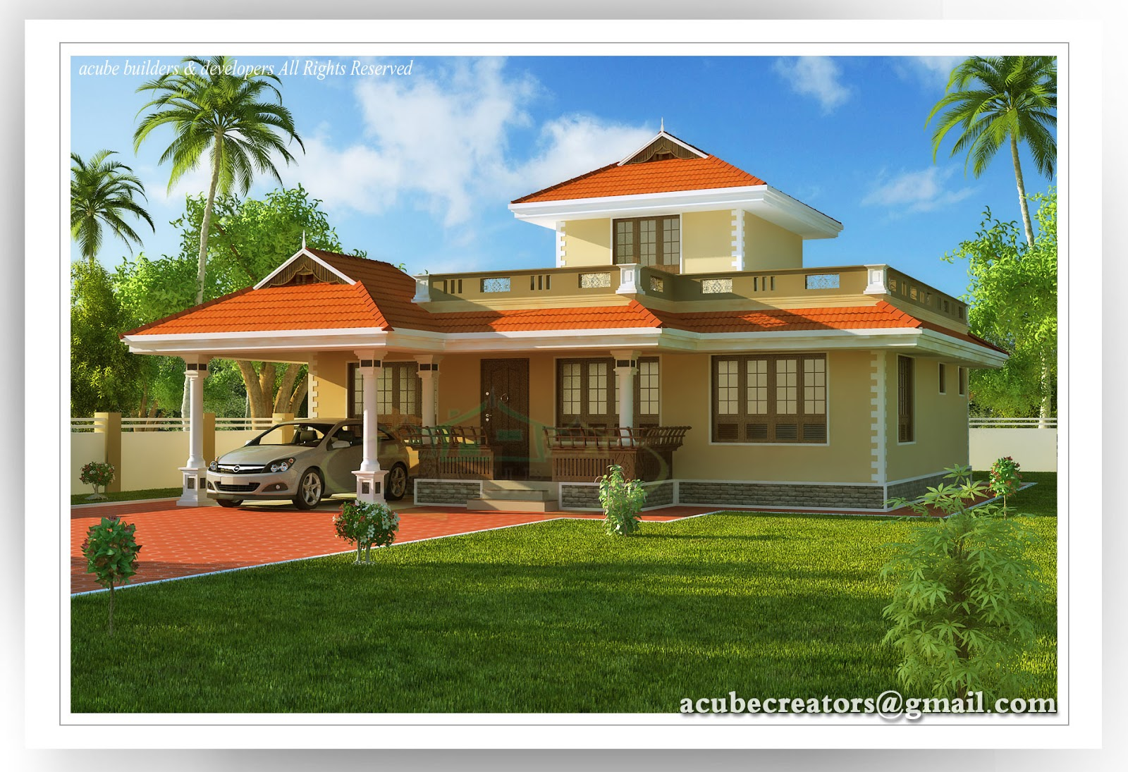 Veedu Front Elevation : D contemporary elevation veedu kerala joy studio design