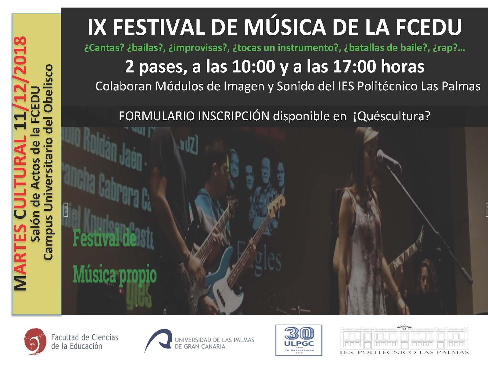 IX FESTIVAL DE MÚSICA DE LA FCEDU