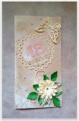 Kartka na osiemnaste urodziny z motylem