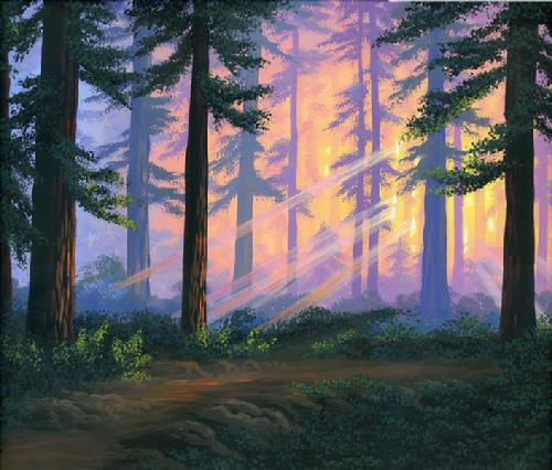 Sunset in the forest Painting by AnaMaria Dragomir