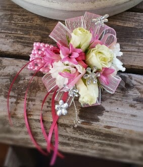 Girly -girl pink ribbons and whimsical dragonfly & flower accents