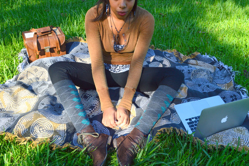 Fashion Blogger Anais Alexandre of Down to Stars in Forever 21 boots, socks, pants and leopard tank.