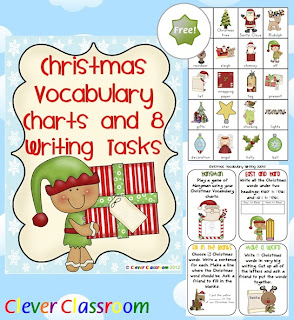 Free PDF Christmas Vocabulary Charts and Writing Tasks