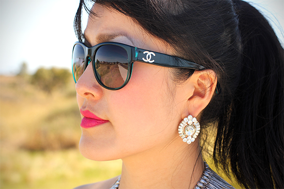 BaubleBar crystal lucille stud earrings in silver with Chanel Sunglasses