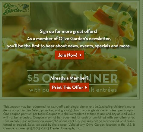 Olive Garden Printable Coupons December 2014