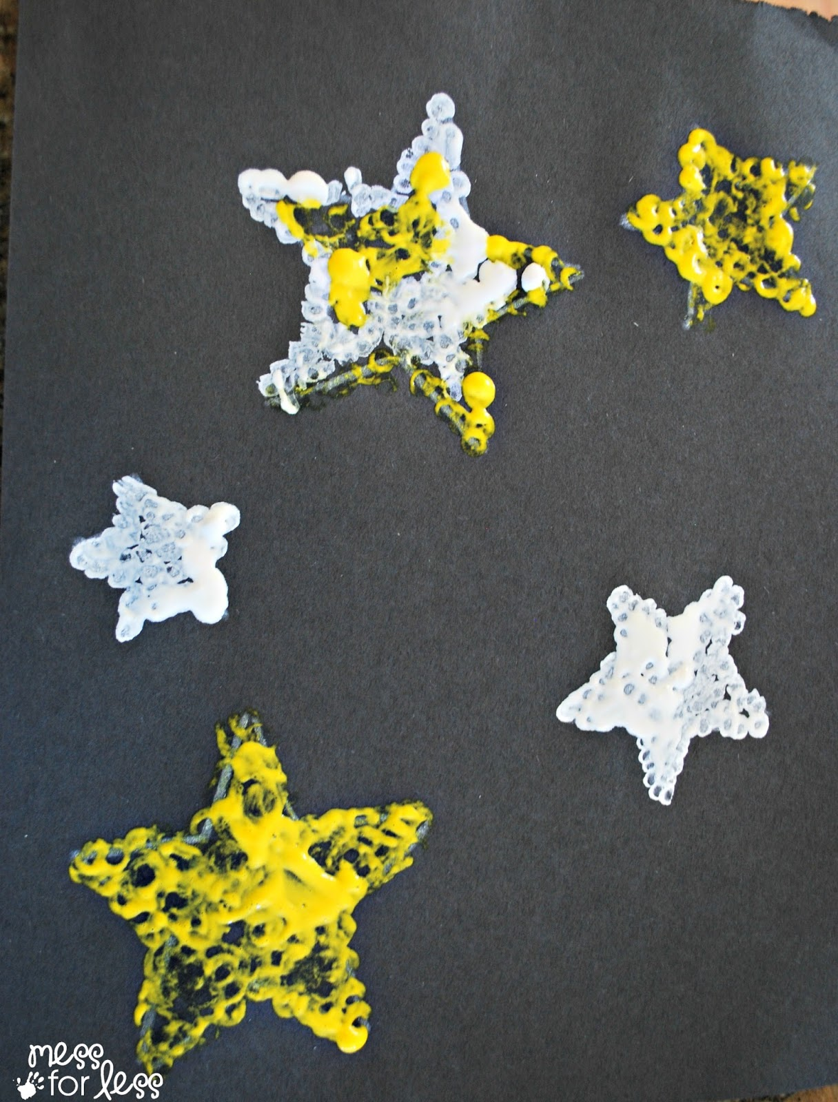 Kids art project q tip star art mess for less for Painting craft projects
