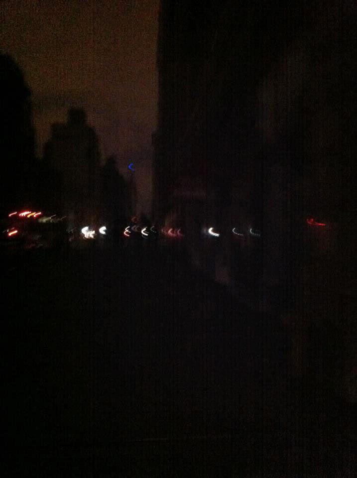 Dark, dimly lit street