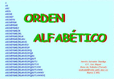 Orden alfabetico,alfabeto,abecedario,lenga,lectoescritua