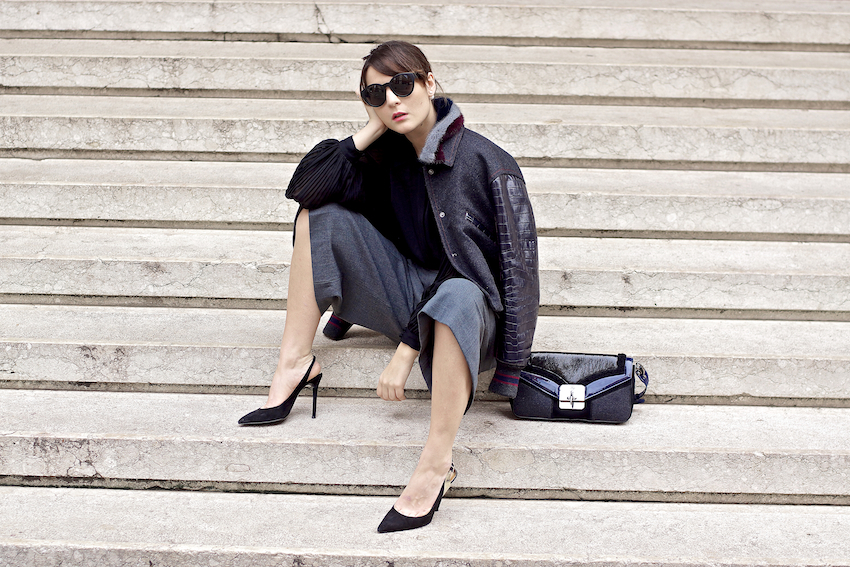 How to wear culottes trousers fashion blogger outfit idea , irene buffa in fay bomber jacket and bag