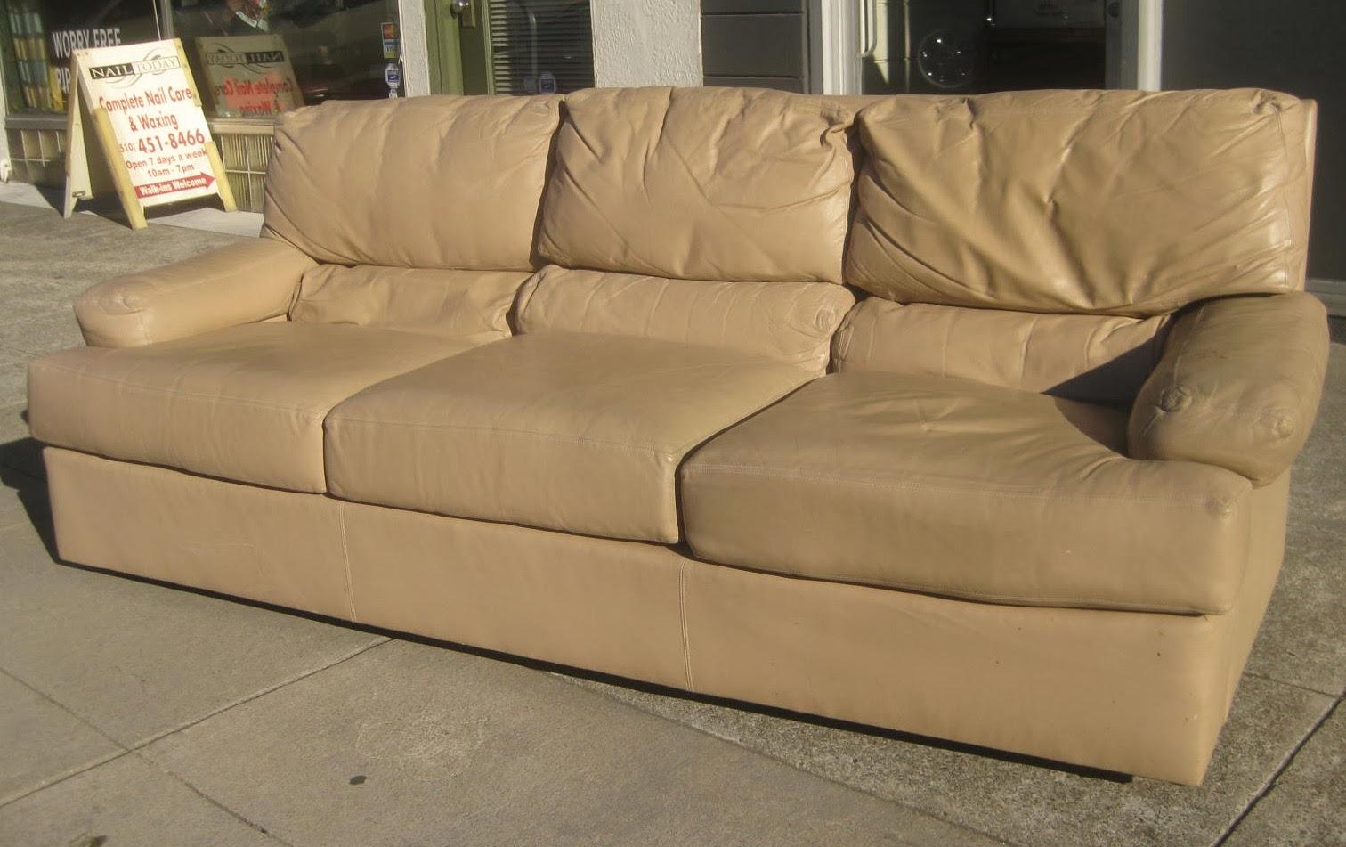 UHURU FURNITURE COLLECTIBLES SOLD Tan Leather Sofa 80