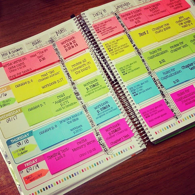 sticky note lesson planner