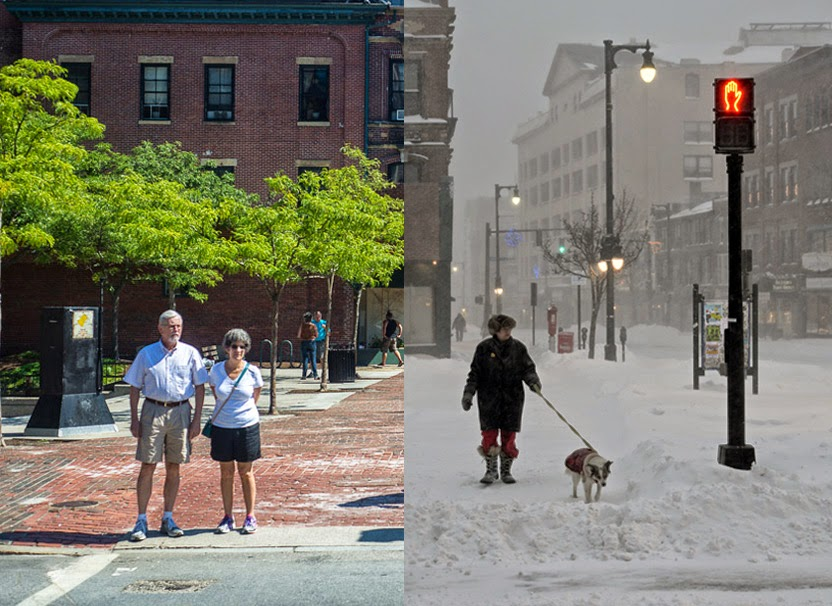 August 2014 Portland, Maine Congress Square Park Seasons of Portland Summer and Winter photo by Corey Templeton