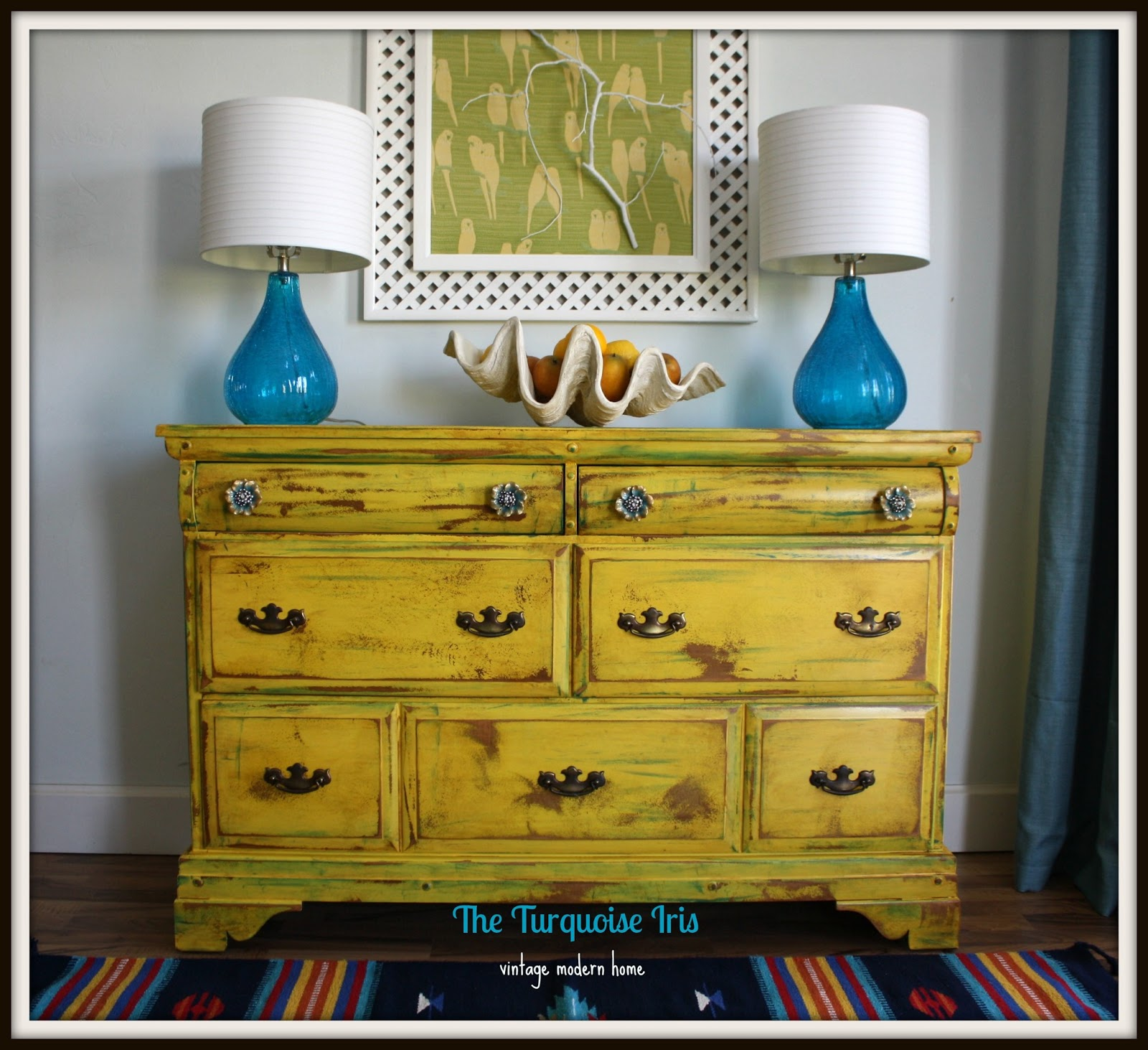 Vintage Yellow Dresser Distressed Accented With Teal