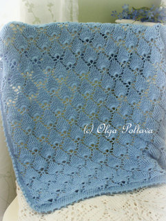 Blue Lace Baby Blanket Crochet Pattern, $4.25