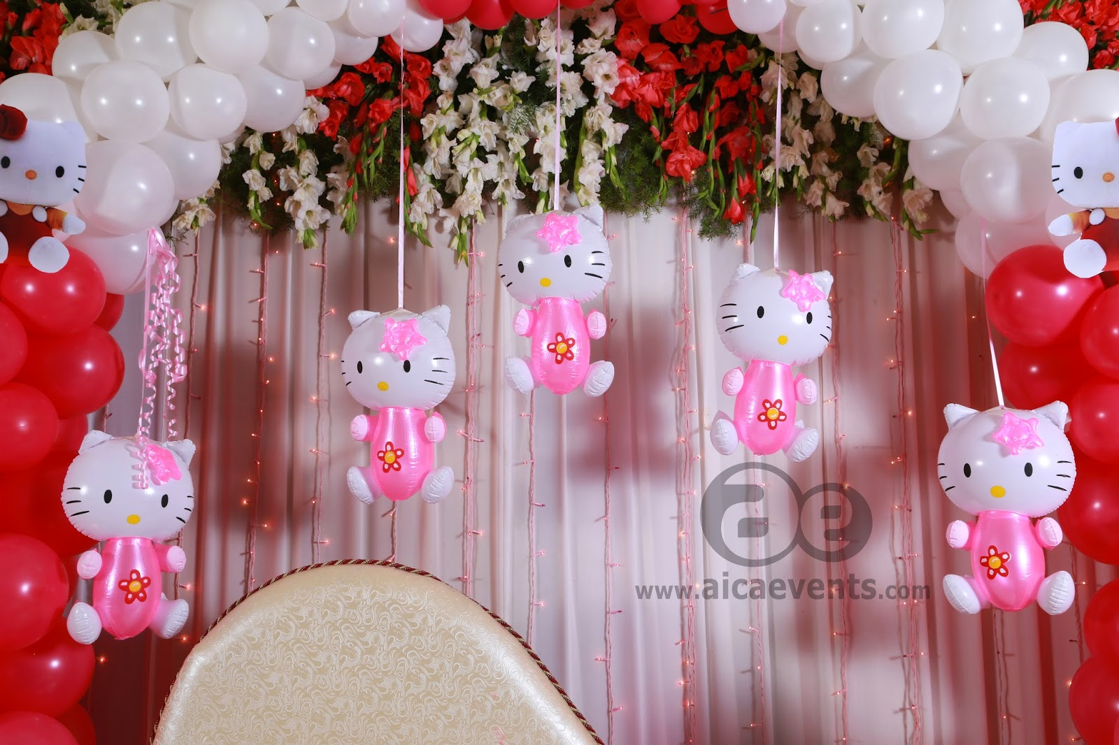 Aicaevents india kitty theme birthday party for baby girls for Balloon decoration equipment