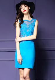 New 2016 Sleeveless Light Blue/Pink Hollow Embroidery OL Dress