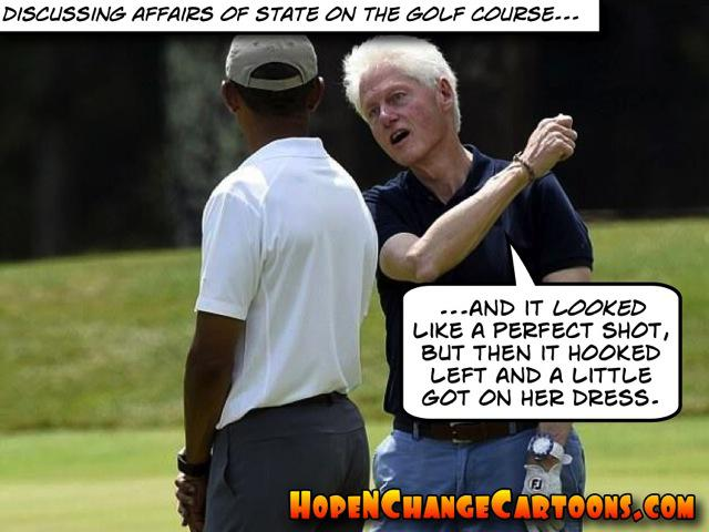 obama, obama jokes, political, humor, cartoon, conservative, hope n' change, hope and change, stilton jarlsberg, bill clinton, golf, monica lewinsky