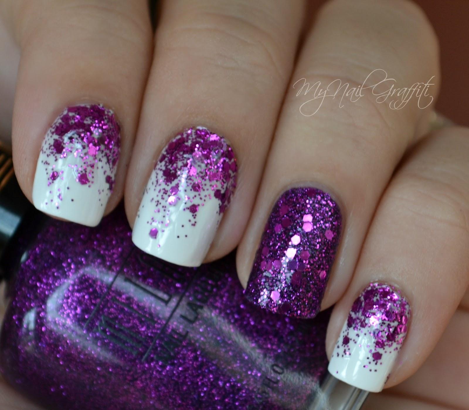 Nail Art Semplici Purple Glitter Gradient