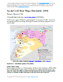 Detailed map of territorial control in Syria's Civil War (Free Syrian Army and Nusra Front rebels, Kurdish groups, ISIS/ISIL/Islamic State and others), updated to December 2014 for siege of Kobani (Ayn al-Arab), government capture of Morek, rebel capture of Nawa, and other developments.