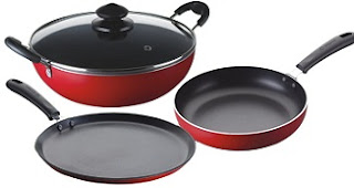 Bajaj Majesty Duo Non-Stick Cookware Set online from amazon