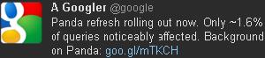 Tweet de Google Panda v3.4