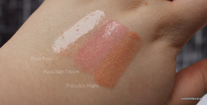 One Little Vice Beauty blog: pink pearl flamingo dance and pumpkin night swatches