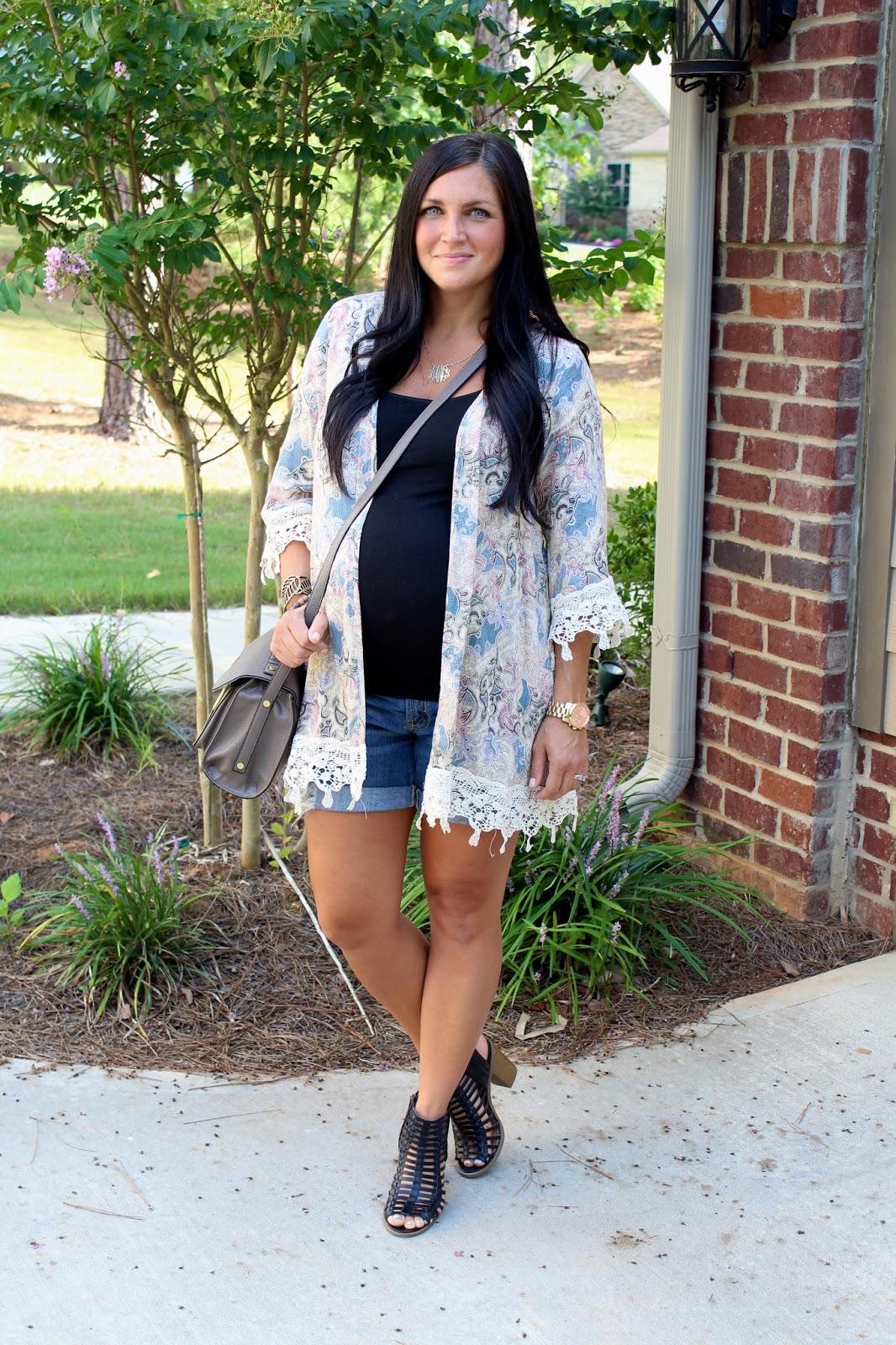 36 weeks pregnant, summer maternity style, crochet kimono