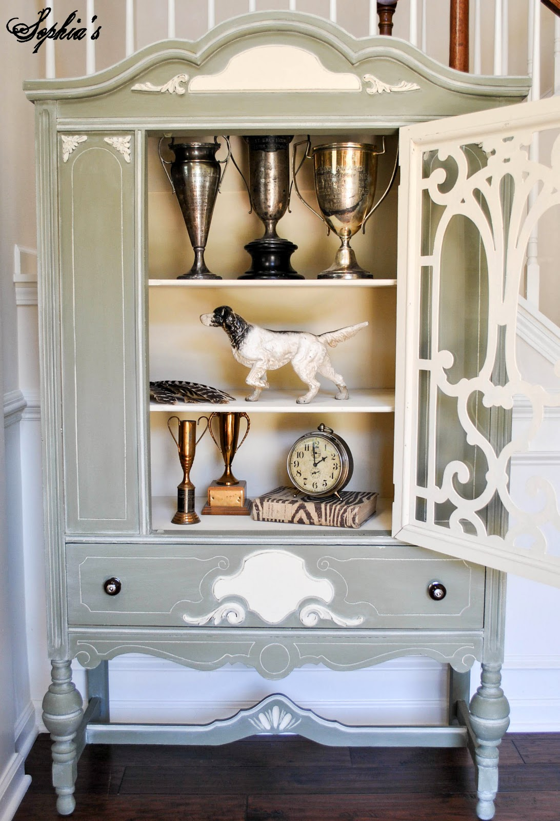 White-Glazed Chateau Grey Cabinet