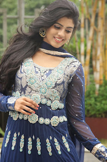 Iniya in Beautiful Blue Anarkali Dress with lace Work Spicy Beauty