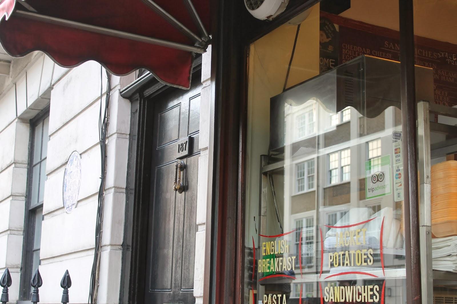 Sherlock Door 221B Baker Street and Speedy's Cafe London