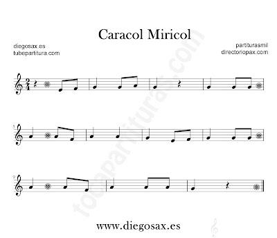 Caracol Miricol partitura para para flauta, violín, saxofón alto, trompeta, clarinete, soprano sax, tenor, oboe, corno inglés, trompa, fliscorno... en Do Mayor en Clave de Sol