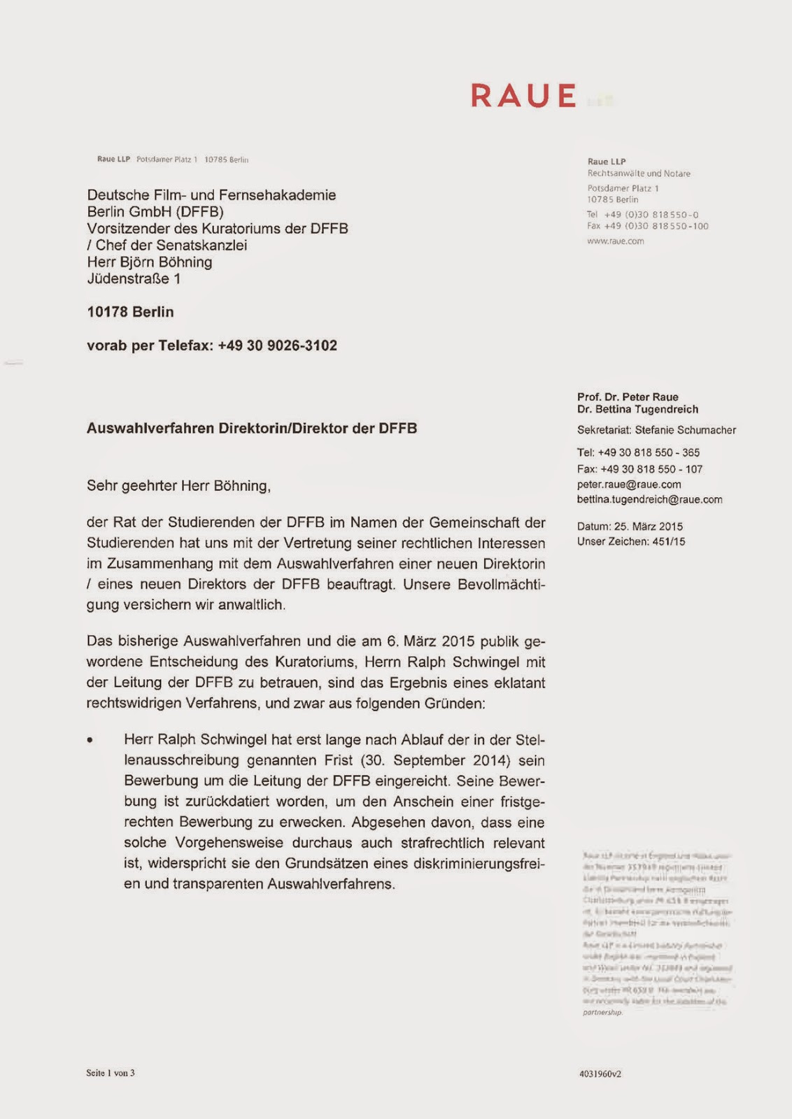 dffb JETZT!: Brief von Raue LLP an Björn Böhning (25.3.15)