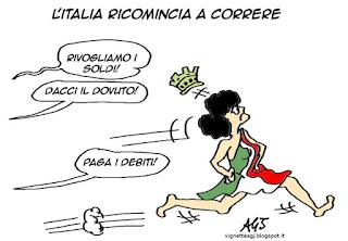 Italia, Renzi, crescita, crisi, vignetta satira