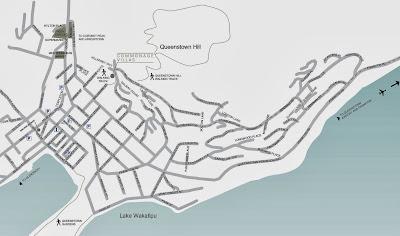 Mapa de Queenstown – Nova Zelândia