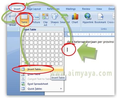 Gambar: Cara menyisipkan tabel yang memiliki ukuran baris dan kolom yang banyak/besar di Microsoft Word