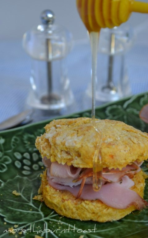 sweet potato biscuits with ham and mustard and drizzled with honey