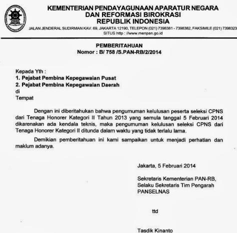 Pengumuman Hasil Kelulusan Tes CPNS Honorer K2 Ditunda