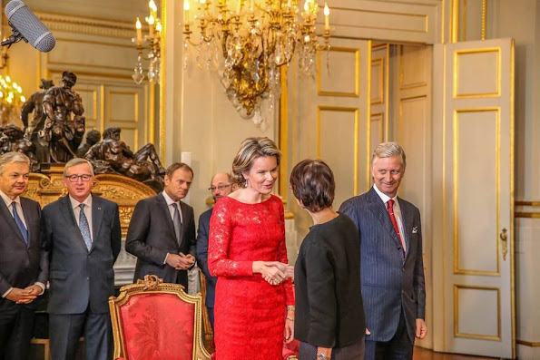 Belgian Foreign Minister Didier Reynders, European Commision President Jean-Claude Juncker, European Council President Donald Tusk, European Parliament President Martin Schulz, Queen Mathilde of Belgium and King Philippe of Belgium and Archbishop Alain Paul Lebeaupin
