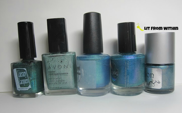 Bottle shot:  Literary Lacquers Lake of Shining Waters, Avon Cosmic Celestial, Above the Curve Gratitude, Indigo Bananas Telephasic Workshop, and NailNation 3000 Gina...So Guess What?