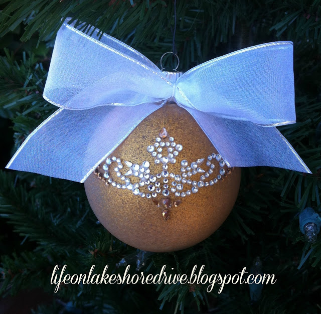 DIY Christmas ornament tutorial glamour glitz rhinestones