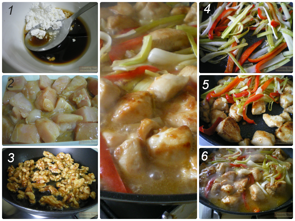 Fricasé con nueces caramelizadas y arroz con curry (Elaboración)
