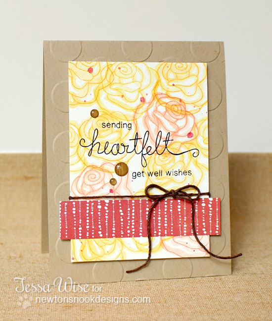Get well roses card by Tessa Wise for Newton's Nook Designs | Simply Sentimental Stamp Set