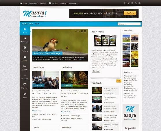 Mazaya Responsive Joomla News, Multipurpose Theme