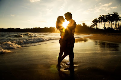 Romantic couple with sunset
