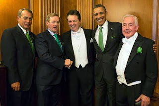 Pictured at this year's St. Patrick's lunch on Capitol Hill are House Speaker John Boehner, Taoiseach Enda Kenny, Kearns, President Obama and Kearns' accompanist Patrick Healy.