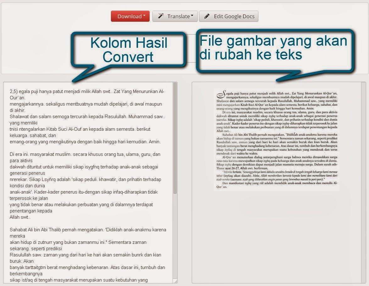 Gambar 5. Hasil Convert Online Dari Gambar ke Teks